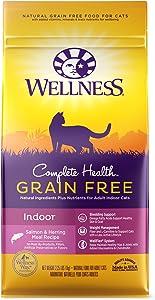 Wellness Complete Health Natural Grain Free Salmon & Herring Indoor Dry Cat Food, 2.25 Pound Bag
