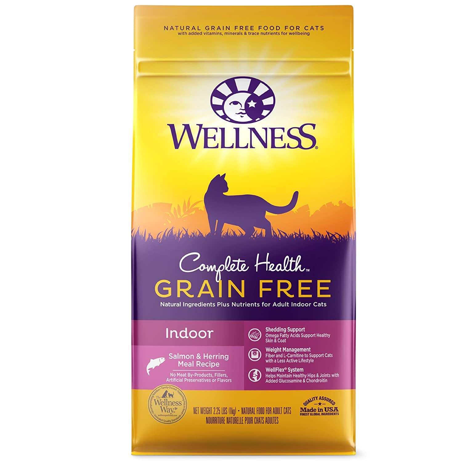 2.25-Pound Bag Wellness Complete Health Natural Grain Free Dry Cat Food, Indoor Health Salmon & Herring Meal Recipe, 2.25-Pound Bag