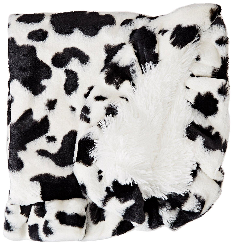Bessie and Barnie Spotted Pony/Snow White Luxury Shag Ultra Plush Faux Fur Pet, Dog, Cat, Puppy Super Soft Reversible Blanket (Multiple Sizes) BLNKTZ-SWSP-LG