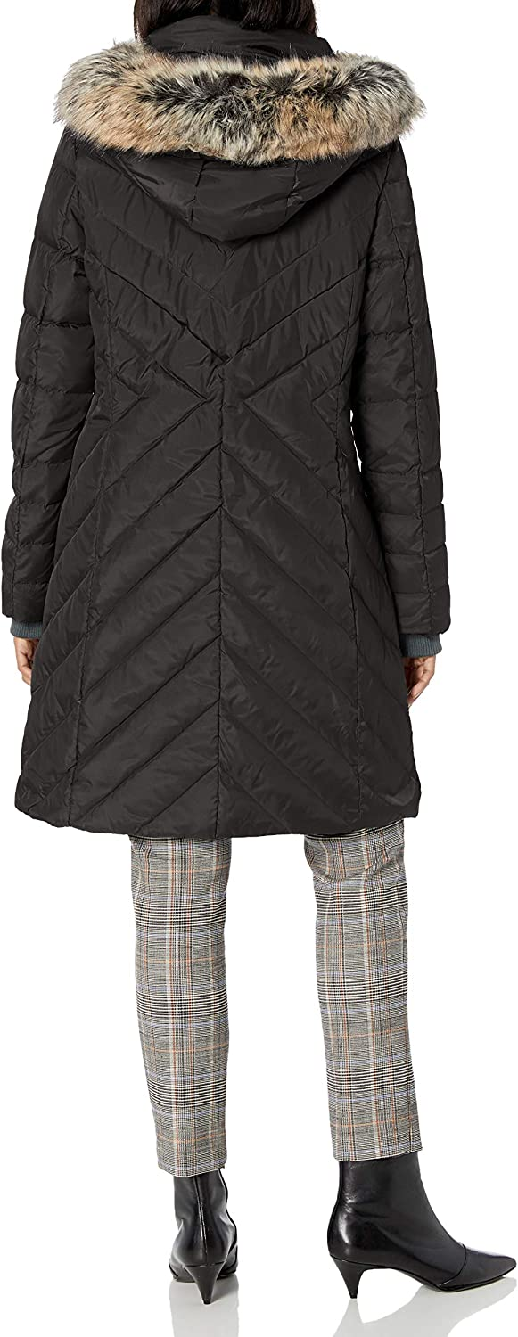 LONDON FOG Womens Chevron Down Quilting with Removable Hood
