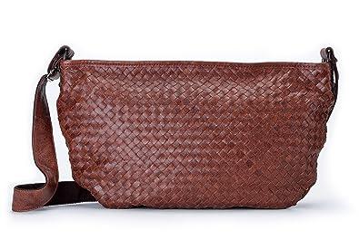 6dffe85cc7 La Poet Women s Genuine Leather Woven Weave Crossbody Hobo Satchel Shoulder  Bag (Brown)