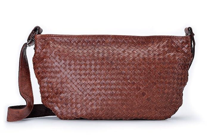 1526560352 Amazon.com  La Poet Women s Genuine Leather Woven Weave Crossbody Hobo Satchel  Shoulder Bag (Brown)  Shoes