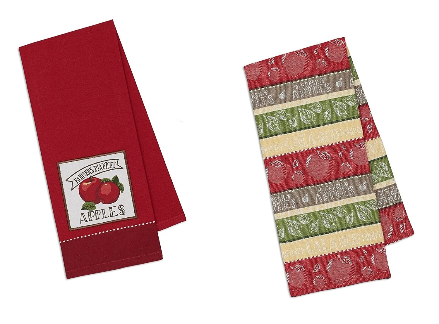 Design Imports DII Coordinating Embroidered and Printed Cotton Dishtowel Sets of 2 Tea Towels (Apple)