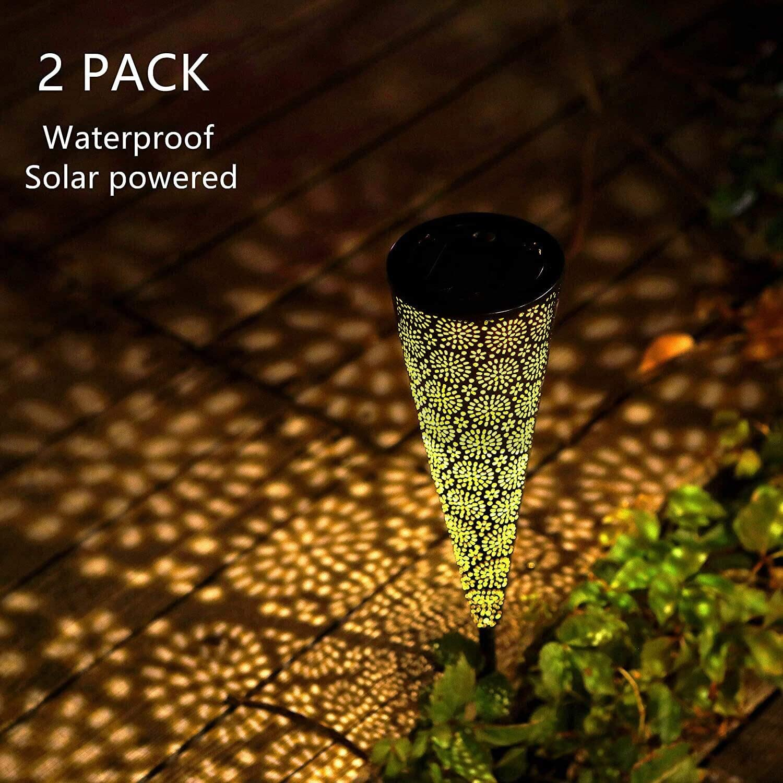 HDNICEZM 2 Packs Solar Garden Decorative Lights,Unique Flower Pattern Solar Pathway Outdoor Lights, Waterproof Decorative Metal Solar Garden Stake Lights for Walkway Patio Yard