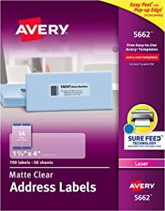 "AVERY Matte Frosted Clear Address Labels for Laser Printers, 1-1/3"" x 4"", 700 Labels (5662)"