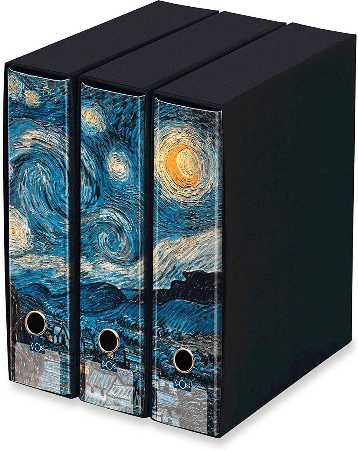 Kaos – Juego de 3 archivadores de anillas Lomo 8 – Starry Night, Vincent Van Gogh – Medidas del juego: 26,8 x 35 x 29 cm