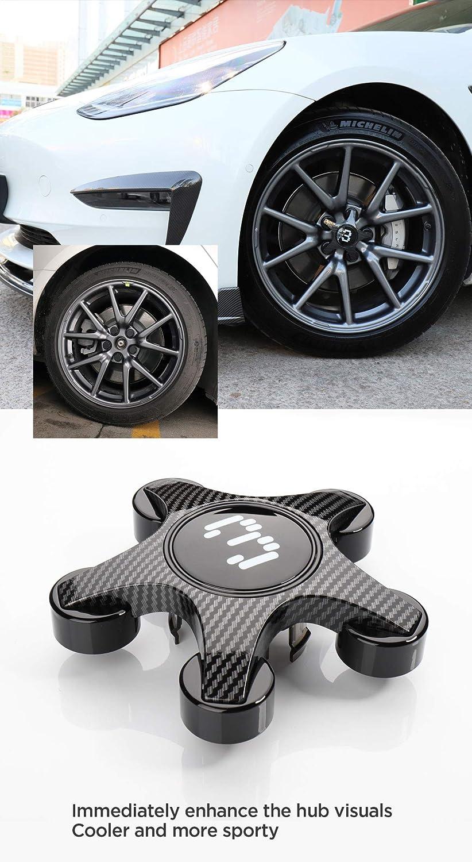 M3-EX13RCFR3W LUCKEASY Hub Cover Modification Kit for Tesla Model 3 Car ABS Paint Modification Wheel Cap Kit 4pcs//Set