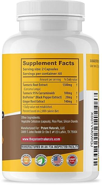 Potent Naturals Turmeric Curcumin with Bioperine and Ginger 1500mg | 120  Veggie Capsules |