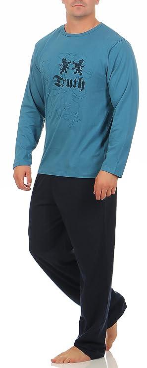 Langer Schlafanzug Baumwolle Rundhals oder V-Ausschnitt - weicher warmer  Pyjama - 5 verschiedene Modelle und Farben wählbar Grösse 50/M - 56/XXL:  Amazon.de: ...