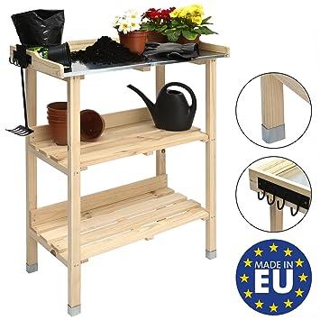 Moorland Table de jardinage en bois avec plateau en zinc - Floralux ...