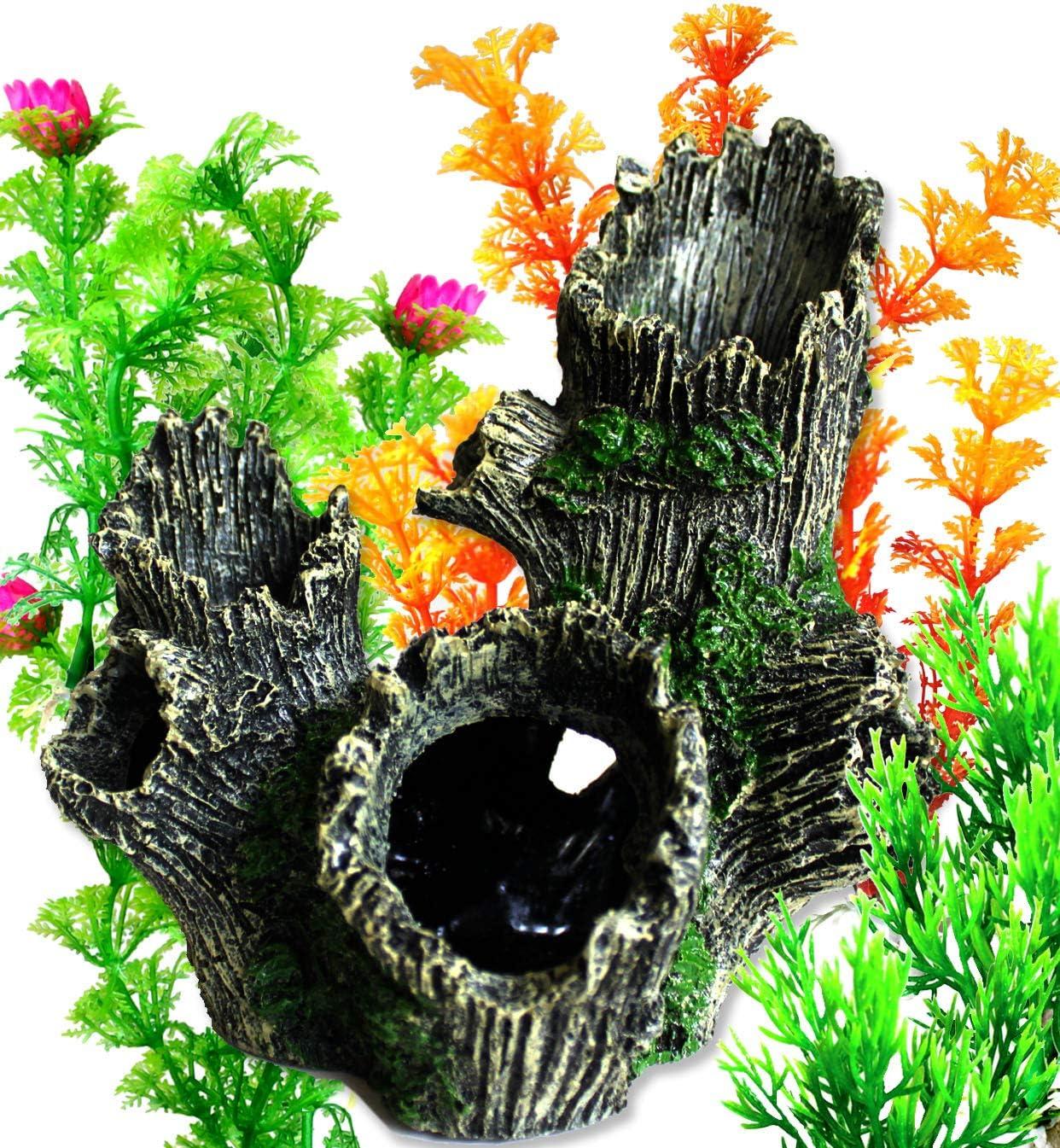 OrgMemory Aquarium Décor Ornaments, Fish Tank Decorations, Trunk with Aquariums Plants, Home Aquarium Ornament