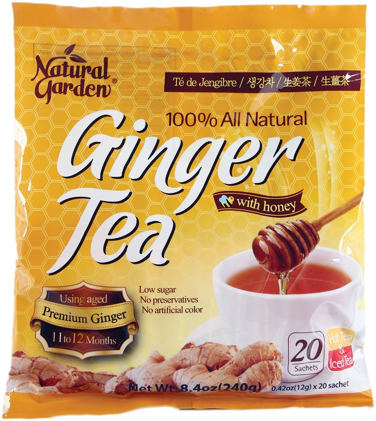 Natural Garden 100% All Natural Ginger Tea with Honey