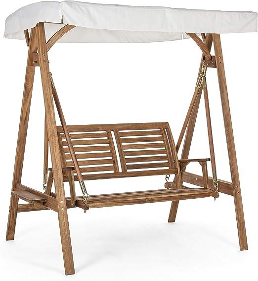 Columpio de jardín de 2 plazas de madera, cubierto con techo de poliéster blanco, para exterior tornillos de acero Noemi: Amazon.es: Jardín