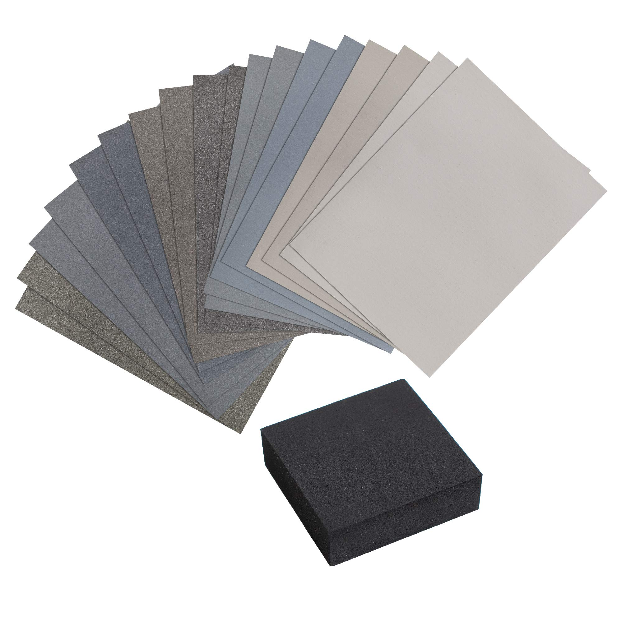 Micro Mesh 19 Piece Woodworkers Pack with 18 Abrasive 3 Inch by 6 Inch Sheets and a Foam Sanding Block