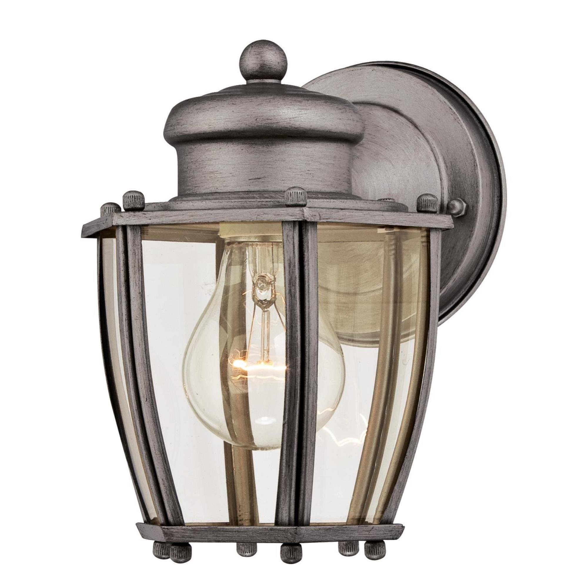 Westinghouse 6468800 One-Light Outdoor Wall Fixture, Antique Silver Finish with Clear Curved Glass