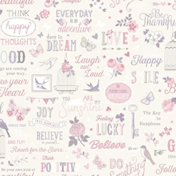 WHITE /& PINK OR TEAL /& PINK AVAILABLE FEATURE WALL RASCH INSPIRATION WALLPAPER
