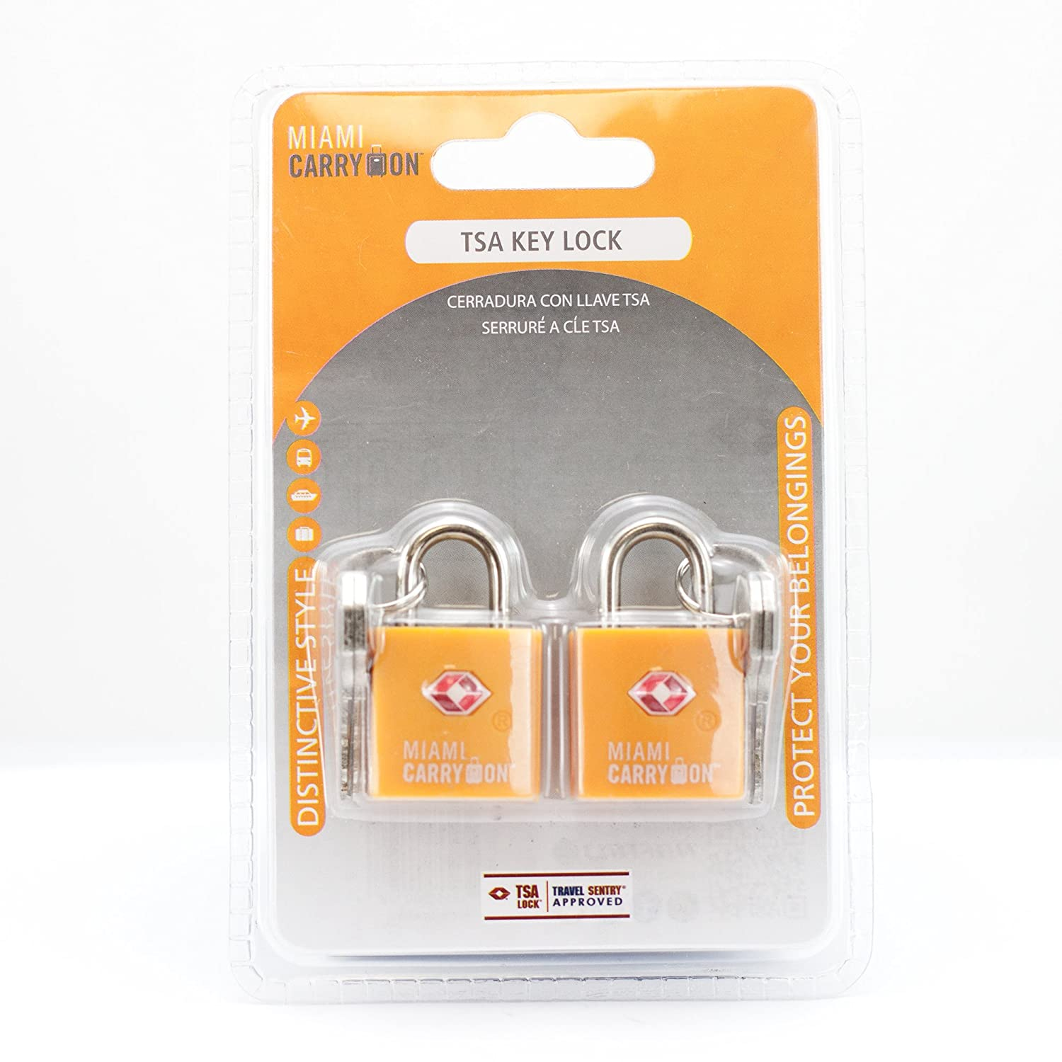 Amazon.com | TSA Approved Padlock - Miami Carry On - Best TSA Keyed Luggage Lock, 0.9 Inch Wide - Keyed Different - Orange (2 Pack) | Luggage Locks