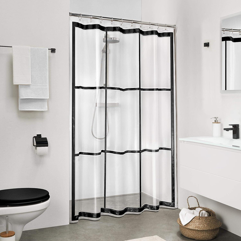sealskin brix shower curtain peva 180x200 cm transparent black