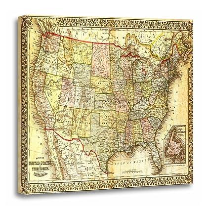 Amazon.com: TORASS Canvas Wall Art Print United Vintage Usa Map ...