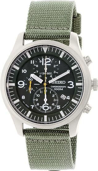 Seiko SNDA27P1 - Reloj cronógrafo de caballero de cuarzo con correa textil verde - sumergible a 100 metros: Amazon.es: Relojes