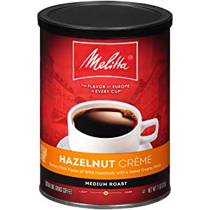 Melitta Hazelnut Crème Flavored Coffee, Medium Roast, Extra Fine Grind, 11 Ounce Can