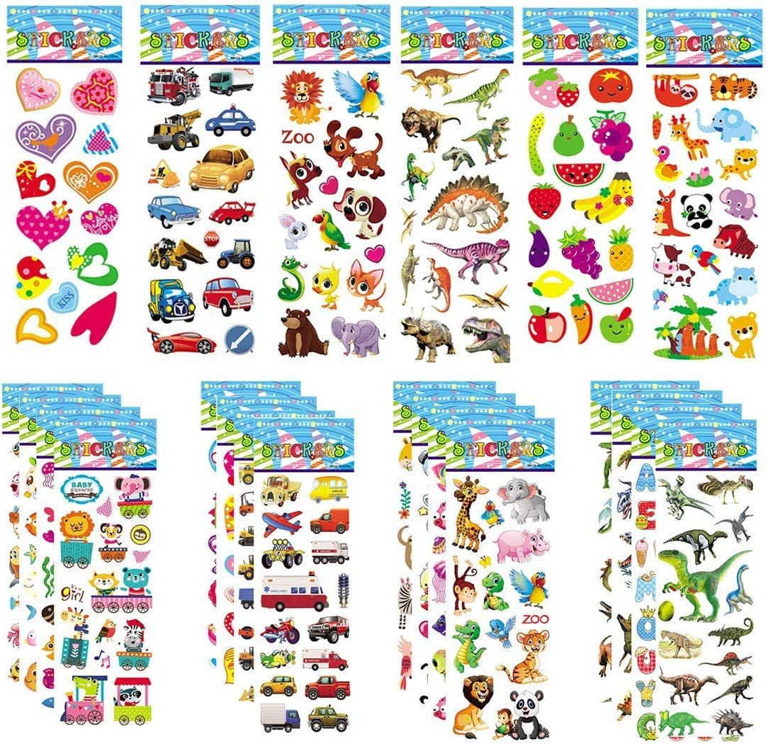 30 Sheets Puffy Stickers for Kids 800+ Children 3D Stickers for Party Bag Fillers Rewarding Gifts Scrapbooking Including Animals Fish Dinosaurs Numbers Fruits Trucks Airplane