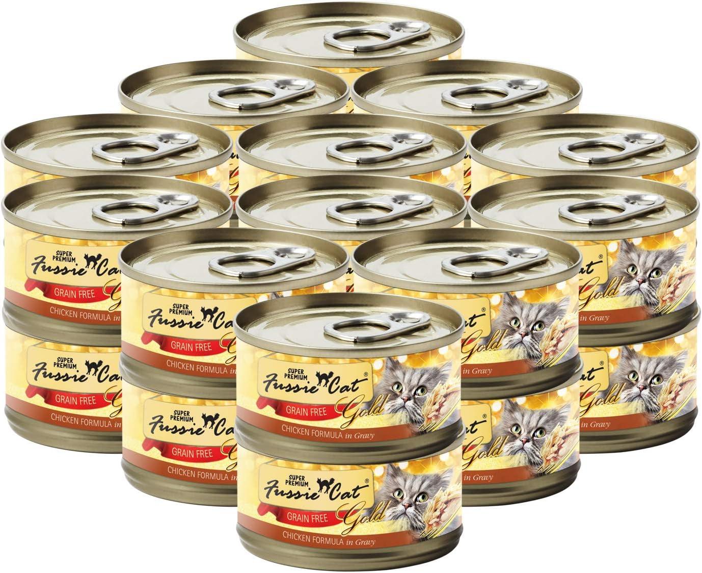 Fussie Cat Super Premium Chicken Formula in Gravy Grain-Free Wet Cat Food 2.82oz, case of 24