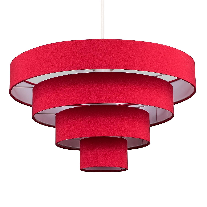 Modern 4 Tier Red Fabric Ceiling Pendant Light Shade MiniSun