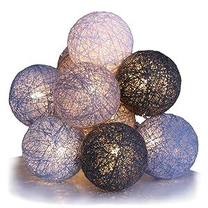 10 LED-Luces de Navidad bolas de algodón, funcionamiento a pilas con temporizador