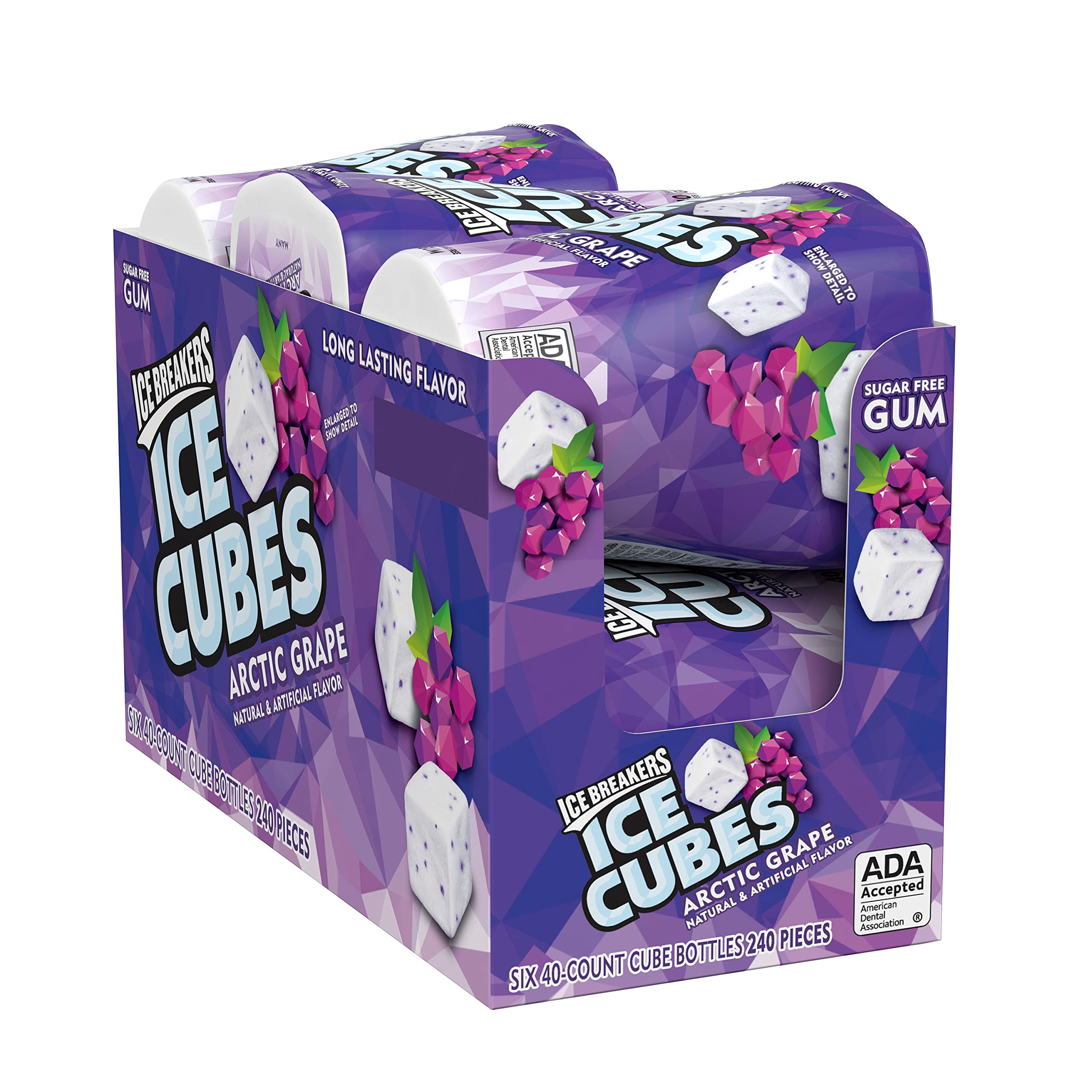 ICE BREAKERS Ice Cubes Sugar Free Gum with Xylitol, Arctic Grape, 40 Count, Pack of 6