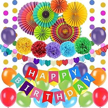 Decoración de Fiesta de Cumpleaños de 44 Piezas, Colorida Bandera Multicolor de Feliz Cumpleaños, Globos de Papel con Abanico de Pompón para Cumpleaños Niño, Pancarta de Happy Birthday: Amazon.es: Juguetes y juegos