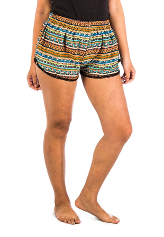 lofbaz Damen bedruckt Sommer Elastic Taille Mini Shorts