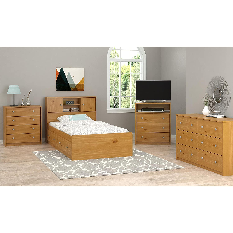 amazon com essential home belmont highboy tv stand pine