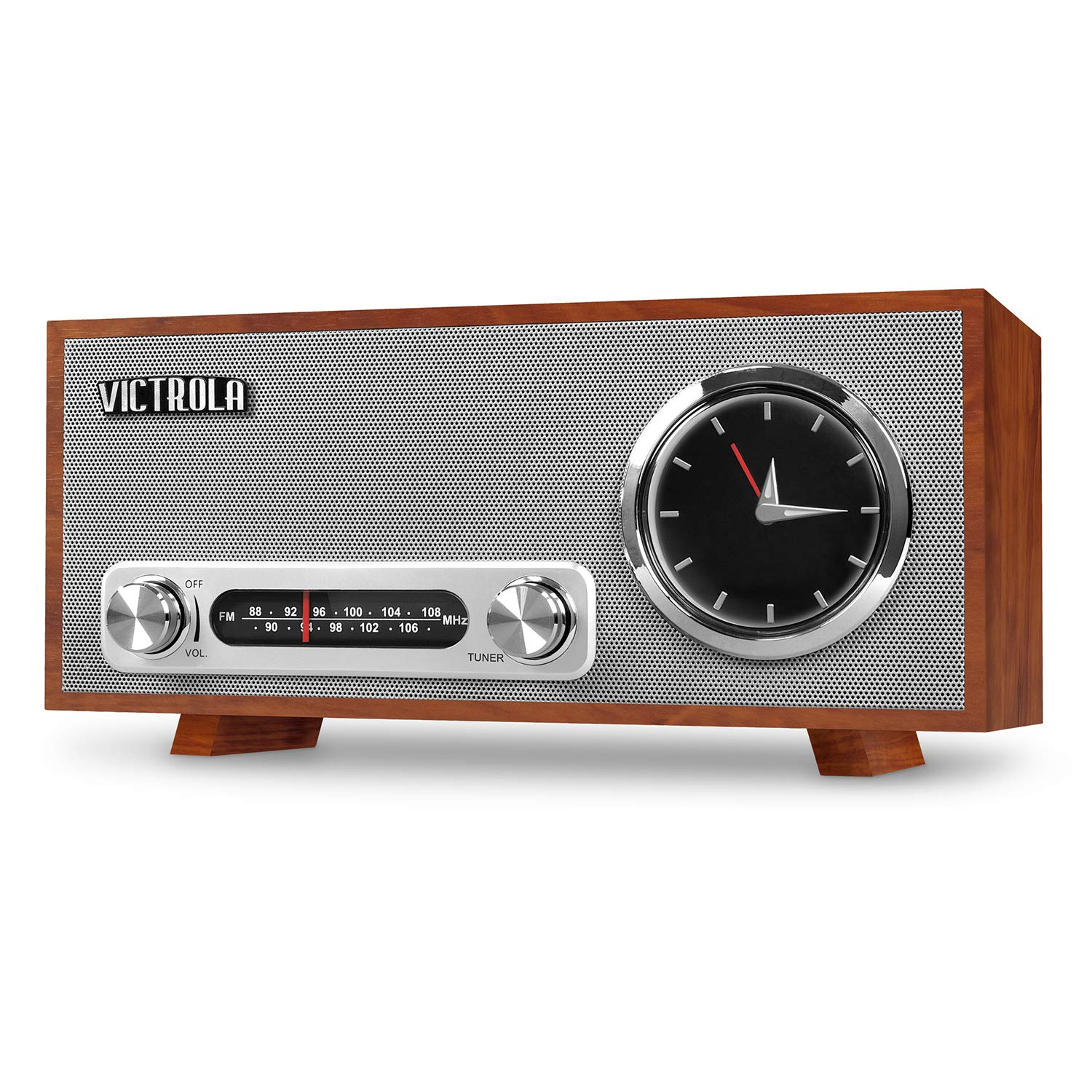 Victrola Bluetooth Analog Clock Stereo with FM Radio and USB Charging, Mahogany