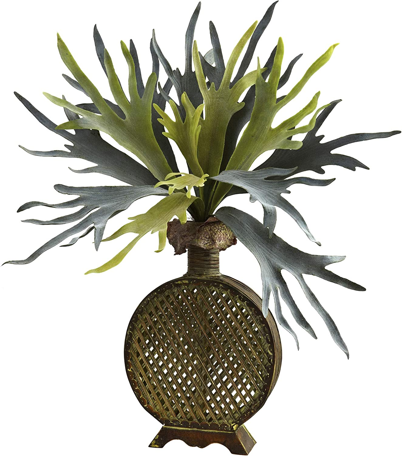Nearly Natural 34in. Staghorn Artificial Designer Weave Planter Silk Plants, Green