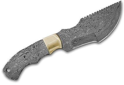 Amazon.com: Tracker Damasco Hoja de cuchillo Blank + latón ...