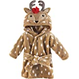 Hudson Baby Unisex Baby Plush Animal Face Robe, Girl Reindeer, One Size, 0-9 Months