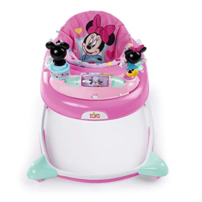 Minnie Mouse Stars and Smiles Baby Girl Folded Walker with Wheels Activity, Entertainment, and Learning Center, Adjustable to 3 Height Position with Removable Toy Station in Pink : Baby