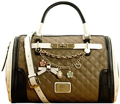 c3ffab158a422 Guess Amour Women s Faux Leather Quilted Bowling Bag Taupe Multi Brown   Amazon.co.uk  Shoes   Bags