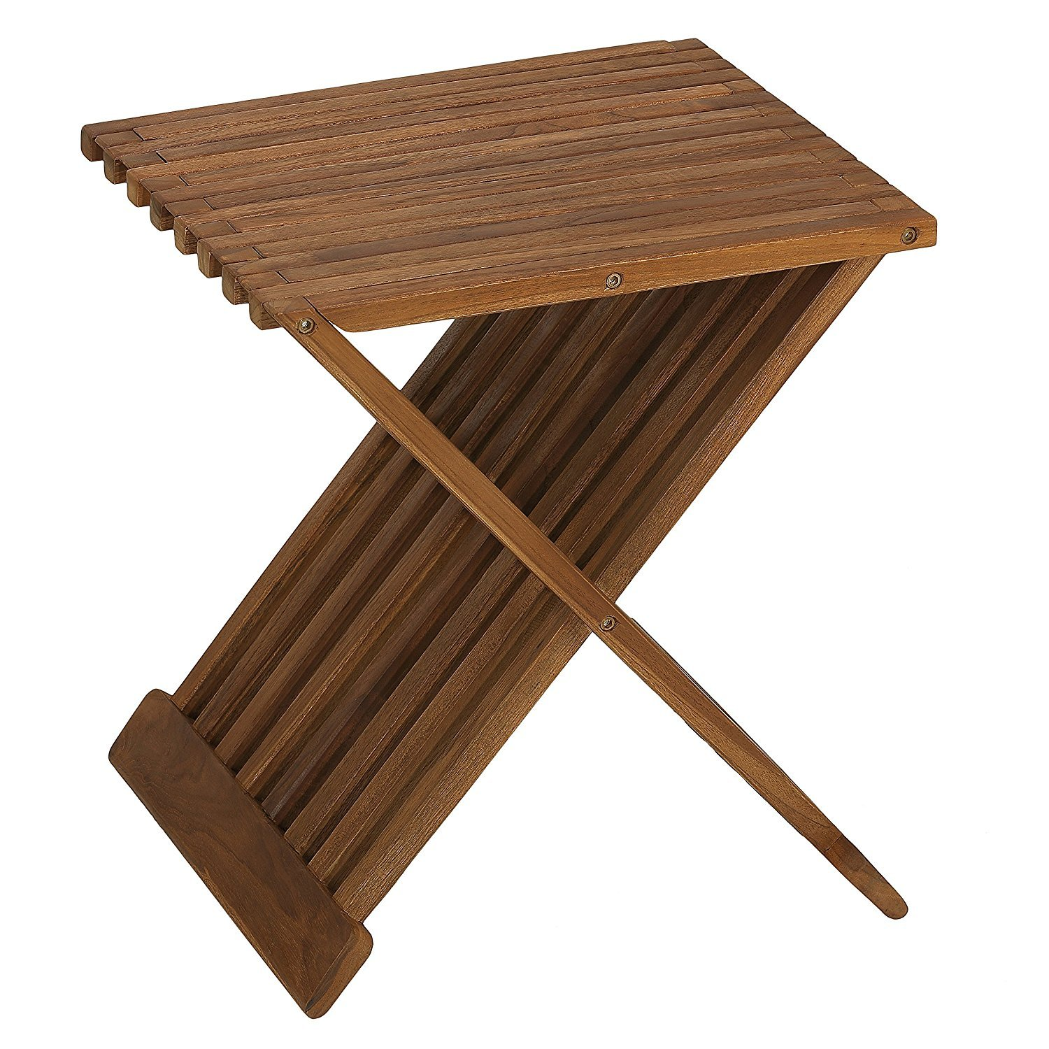 Bare Decor Rocco Folding Stool in Solid Teak Wood, Brown, 17 Inch BARE-AC4061