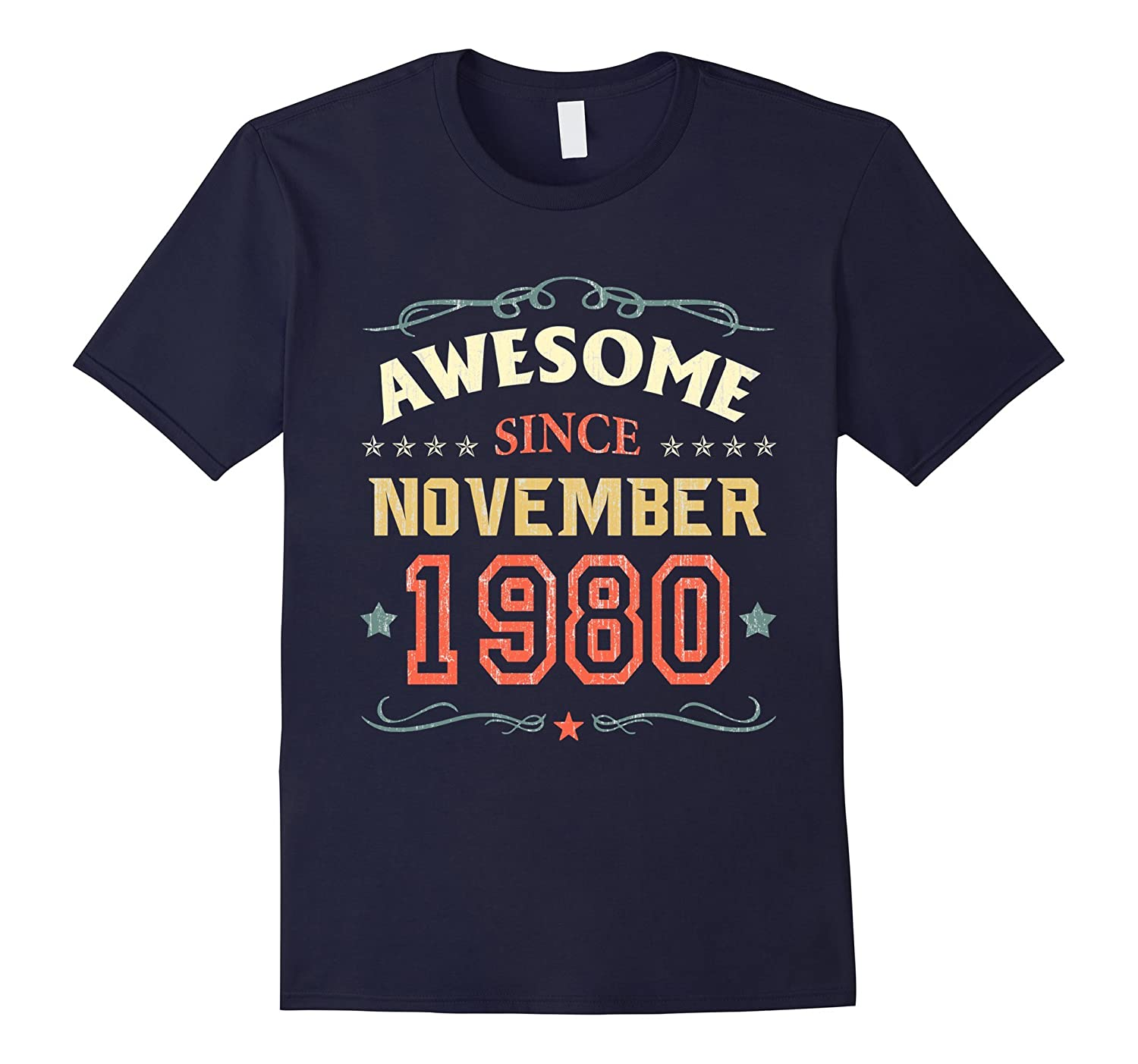 Awesome Since November 1980 T-Shirt Funny 37th Birthday Tee-FL
