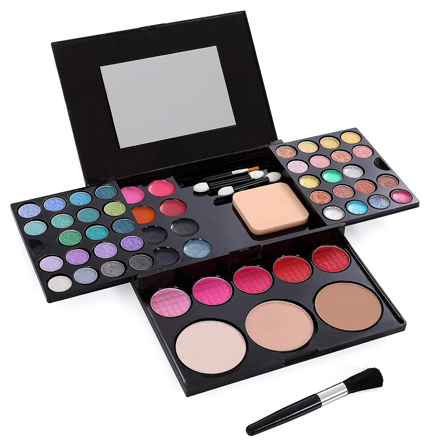 Dress 2 Play Mini-Mom Pretend Makeup Deluxe Palette Set with 54 Colors. Comes in a Hard Case and Built in Mirror