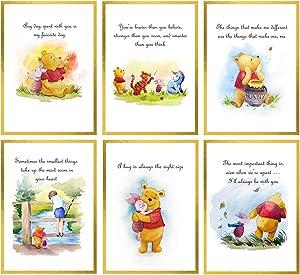 Winnie the Pooh Wall Decor – Unframed Set of 6 Prints, 8x10 Inch, Hand Painted Nursery Wall Decor for Boys and Girls, Kids, Baby's Nursery Décor Playroom Classic Pooh Bear Friends
