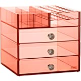 Beautify Blush Pink Acrylic Makeup Cosmetic Makeup Organizer with 3 Drawers, 21 Lipstick Holders & 6 Upper Storage Sections
