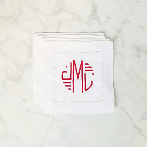 personalized linen cocktail napkins monogrammed cocktail napkins wedding gift linen anniversary gift