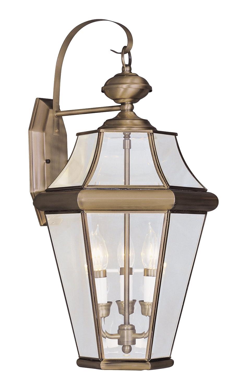 Livex Lighting 2361 – 01 Georgetown 3ライトアウトドア壁ランタン、アンティーク真鍮 B004LSVTBQ