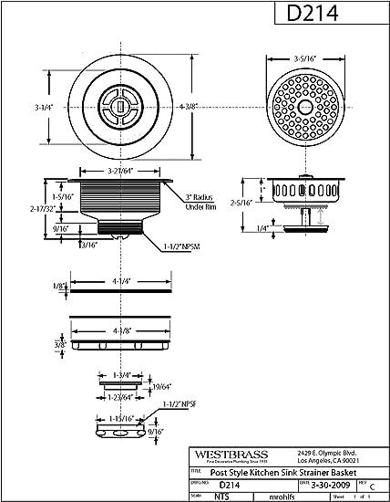 """Brass Sink Drain 3-1//2/"""" Long Sink Opening 1//2/"""" NPS 15//16/"""" Req"""