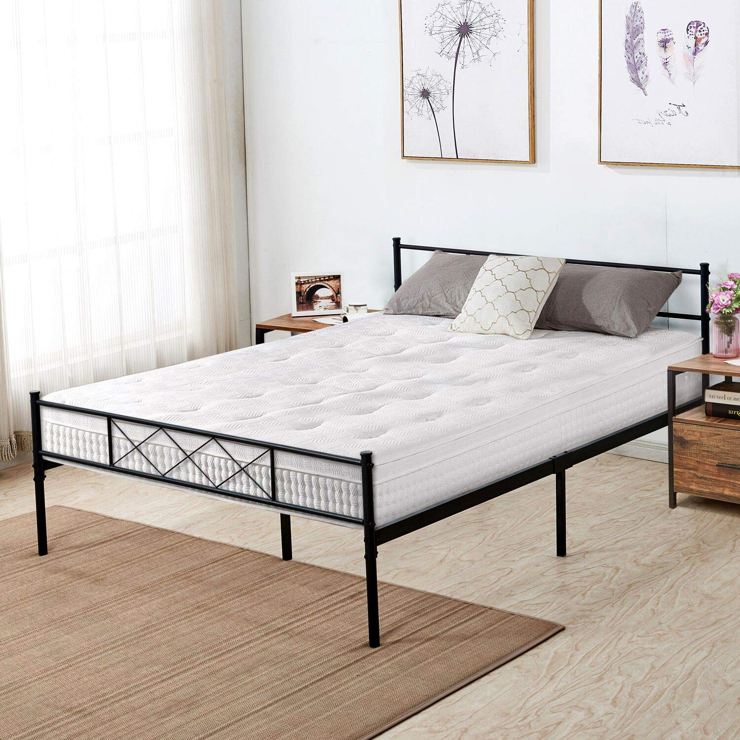VECELO Metal Platform Bed Frame Mattress Foundation with Headboard & Footboard/Firm Support & Easy Set up Structure Queen Black