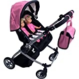 Babyboo Luxury Leather Look Twin Doll Pram Foldable Double Doll Stroller with Basket, Convertible Seat, Adjustable…