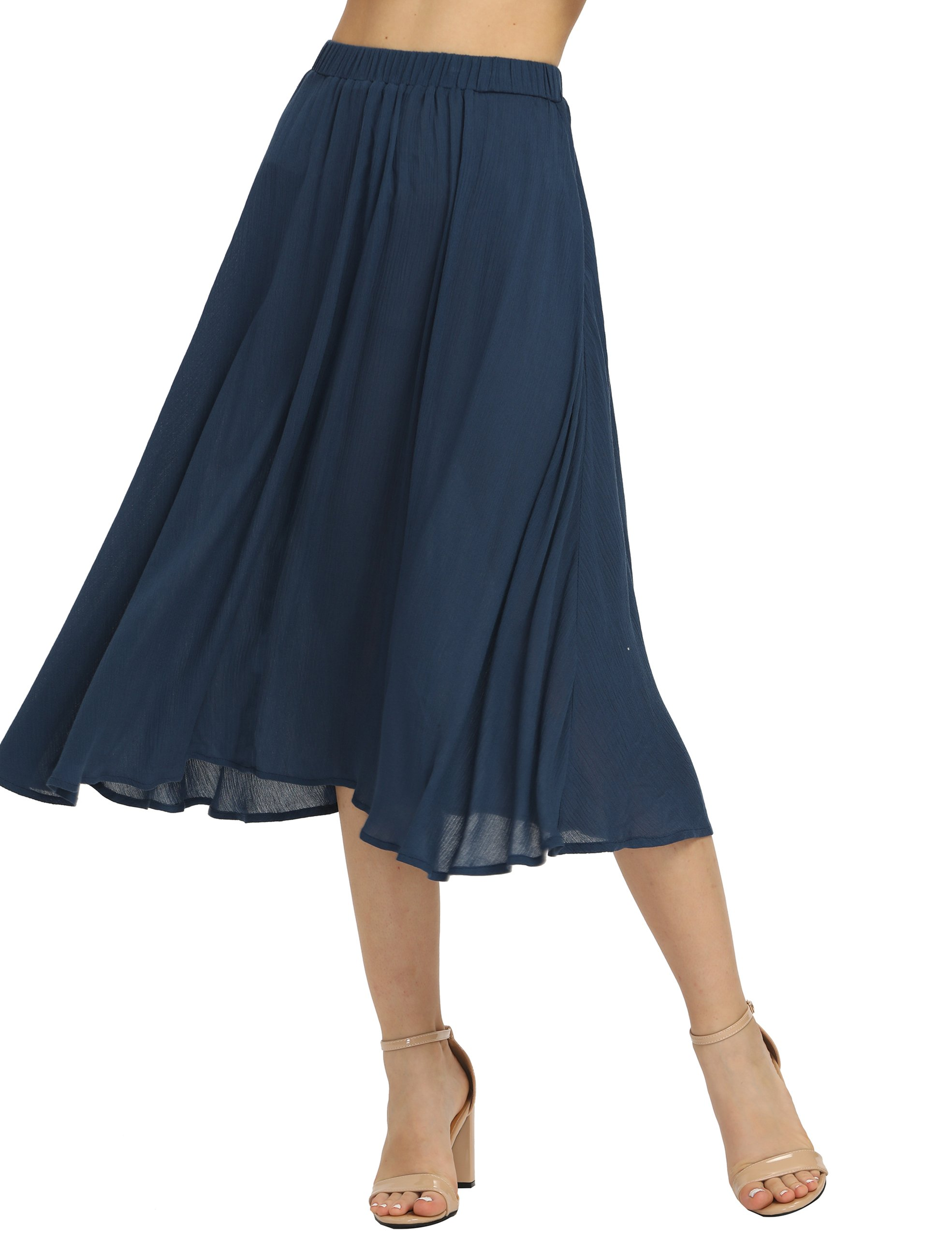 Romwe Women's Cotton Casual Summer Swing Long Midi Skirt Navy S